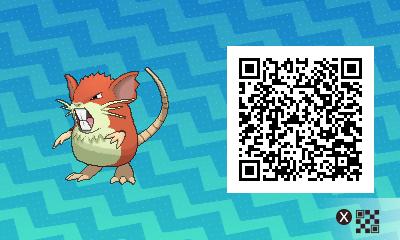 016 Pokemon Sun and Moon Shiny Male Raticate QR Code