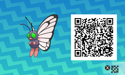 019 Pokemon Sun and Moon Shiny Male Butterfree QR Code