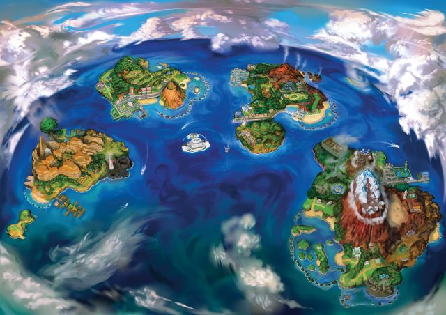 Pokemon Sun and Moon Alola Region Map
