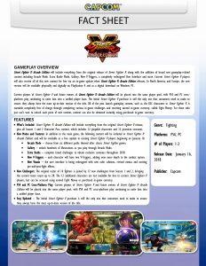 Street Fighter V Arcade Edition Fact Sheet