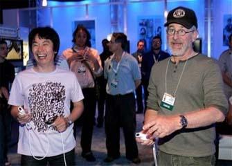 Steven Spielberg plays Wii with Shigeru Miyamoto