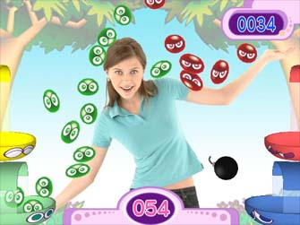 EyeToy Sega Superstars screenshot (of the Puyo Pop Fever game)