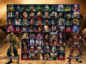 Mortal Kombat Armageddon character select screen