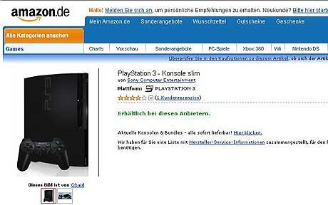 PlayStation 3 Slim console on Amazon