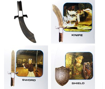 Knife, Sword, Shield Wii controller attachments