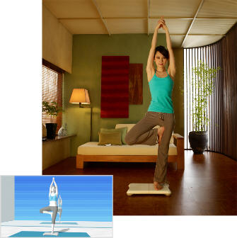 Wii Fit lets you do fitness, yoga, aerobics, games