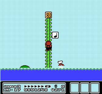Cimb the vine, avoid the fish! - Super Mario Bros. 3 Screenshot