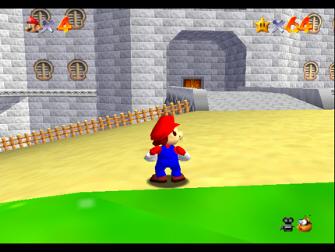 Super Mario 64 Screenshot - Mario in front of Mushroom Castle