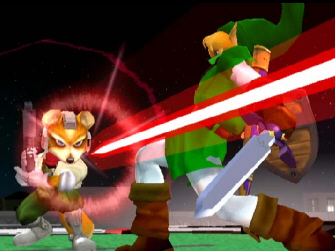Link Dodges Super Smash Bros. Melee Screenshot