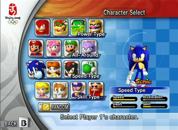 Mario and Sonic at the Olympic Games character select screenshot (Wii)