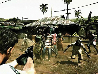 Resident Evil 5 screenshot of zombies attacking Chris