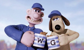 Wallace & Gromit say, 'Here's to our new game being great!'