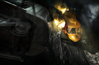 An amazing falling helicopter set-piece is shown in this screenshot