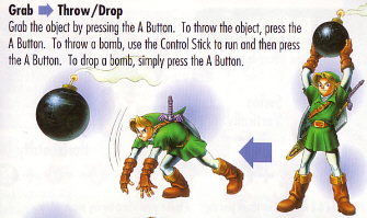 Link Bomb Toss Artwork Scan (Zelda: Ocarina of Time)