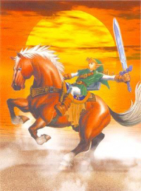 Link Riding Epona Sunset Artwork (Zelda: Ocarina of Time)