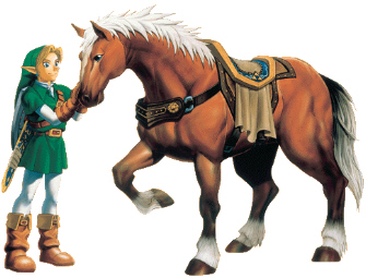 Link Pets Epona Artwork (Zelda: Ocarina of Time)