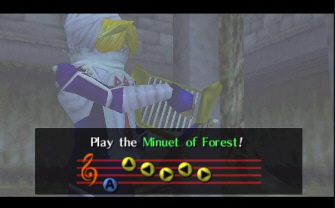 Sheik plays the Minuet of Forest (Zelda: Ocarina of Time Screenshot)