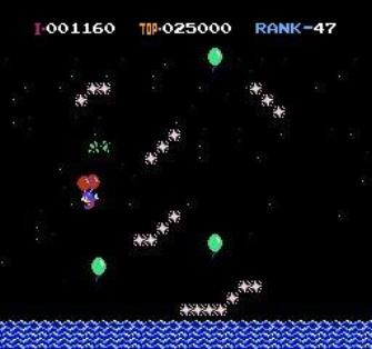 Balloon Fight Balloon Trip Mode Screenshot