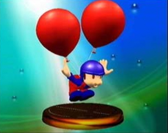 The Balloon Fighter Trophy in Super Smash Bros. Melee (screenshot)