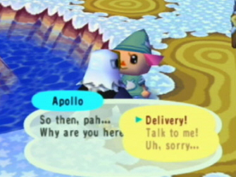 This Animal Crossing screenshot has you talking to Apollo
