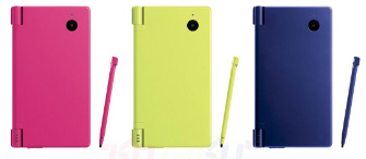 New DSi colors for Japan: Pink, Lime Green and Metallic Blue