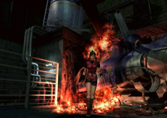 Claire needs a Valve Handle to spray the helicopter fire in this Resident Evil 2 screenshot