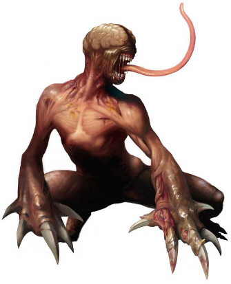 Licker artwork from Resident Evil 2. Tongue lashing from standing position