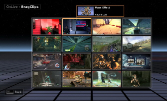 OnLive game line-up and Brag Clips screenshot