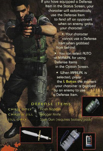 Resident Evil 1 remake GameCube Defense Items Instruction Book Scan