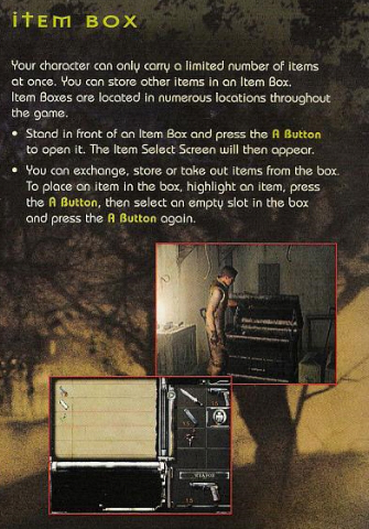 Resident Evil 1 remake GameCube Item Box instruction book scan