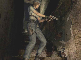 Resident Evil 1 remake GameCube Jill aiming screenshot