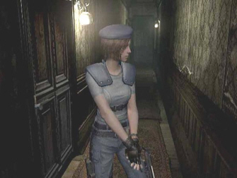 Resident Evil 1 Remake GameCube Screenshot. Jill explores a hallway