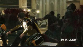 Dead Rising 2 gameplay screenshot. Cutting up some zombies!