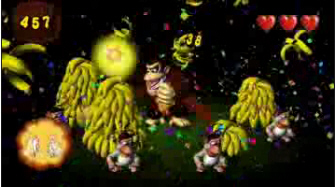 Donkey Kong Jungle Beat banana horde eating screenshot. New Play Control version