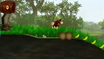 Donkey Kong: Jungle Beat screenshot. New Play Control. Collecting bananas