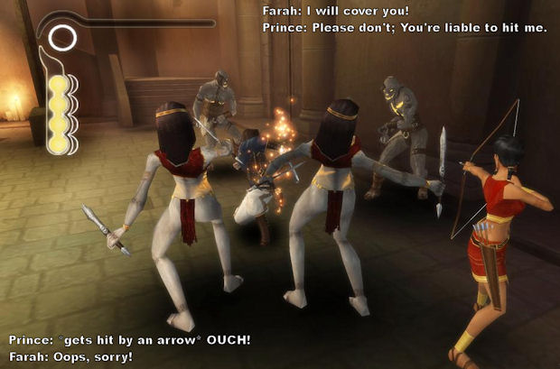 Prince of Persia and Farah dialog in The Sands of Time