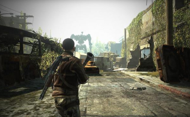 Unlike this Terminator Salvation game screenshot suggests, you do not actually fight that thing