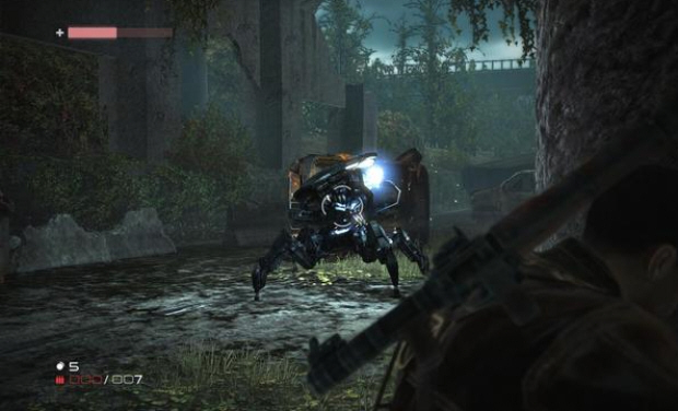 Terminator Salvation Spider robot screenshot. Shoot it in the back to kill it