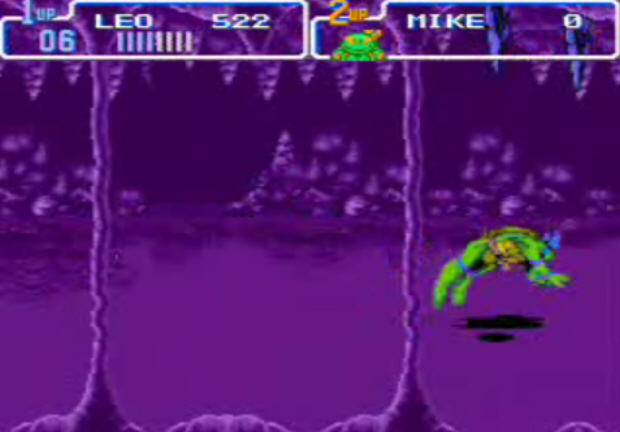 Don't expect any flip moves like this one in Re-Shelled. They are exclusive to Turtles IV for SNES