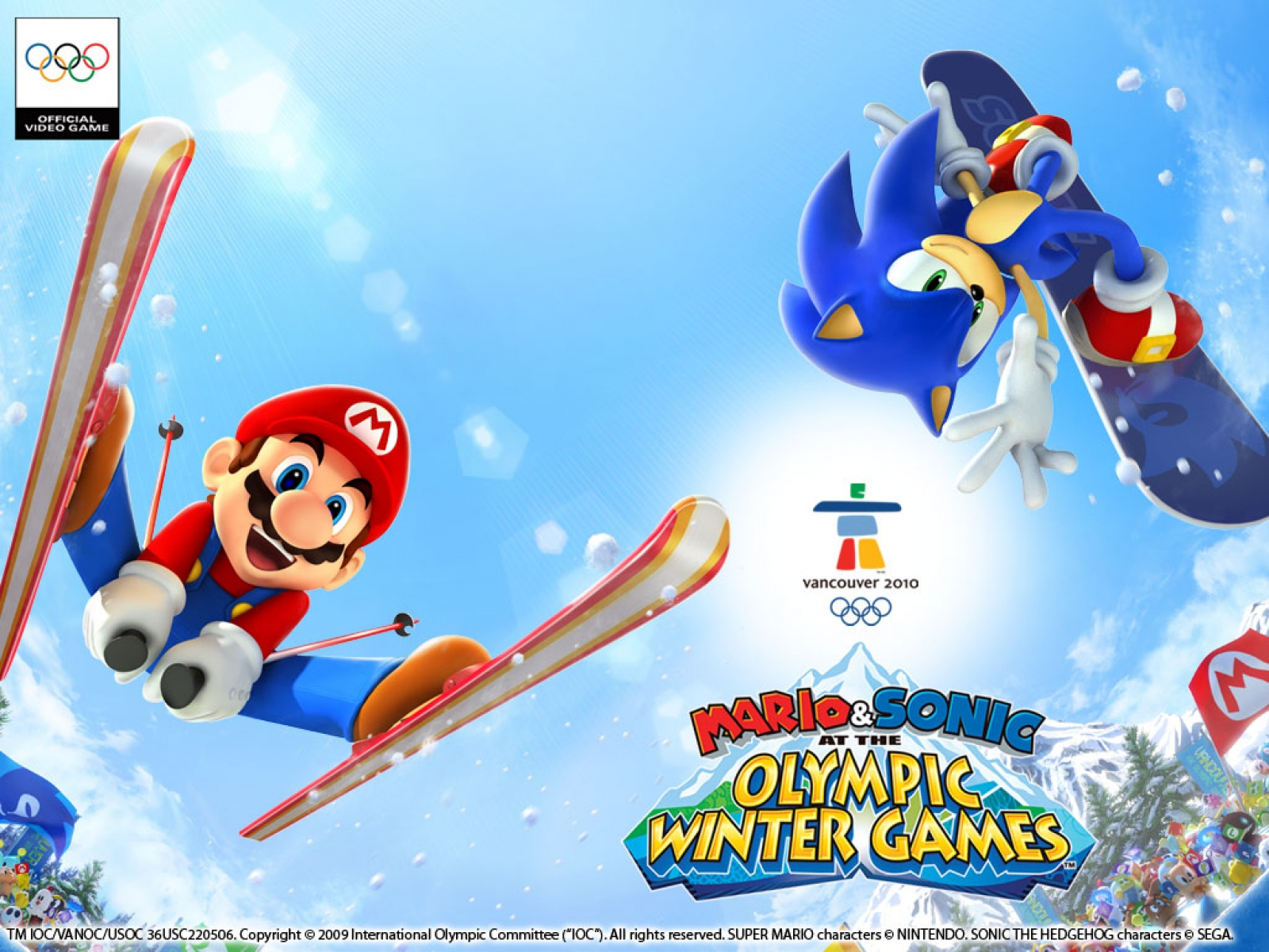 Wii U Screen Savers : Mario and sonic at the olympic winter games wallpaper