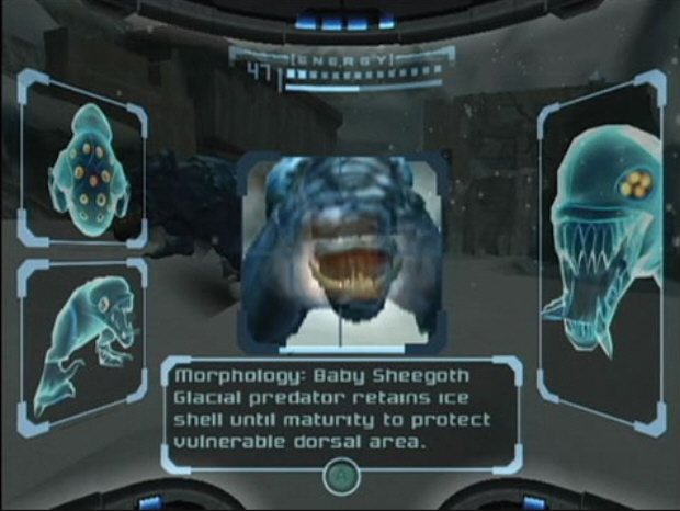 Scan Visor Metroid Prime Screenshot. Scan enemies to find their weakpoints. Objects can be scanned and logged