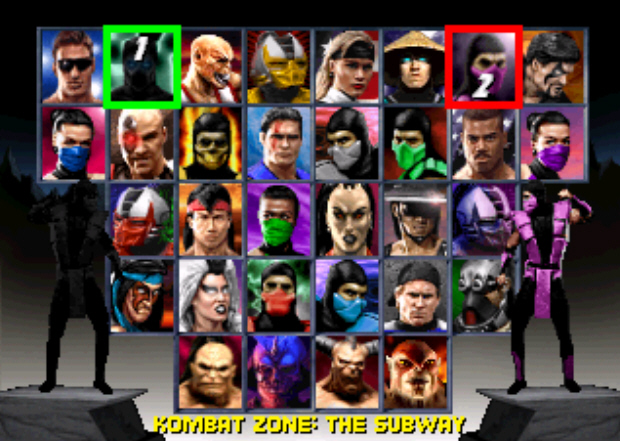 Mortal Kombat Trilogy Character Select Screenshot (PS1)
