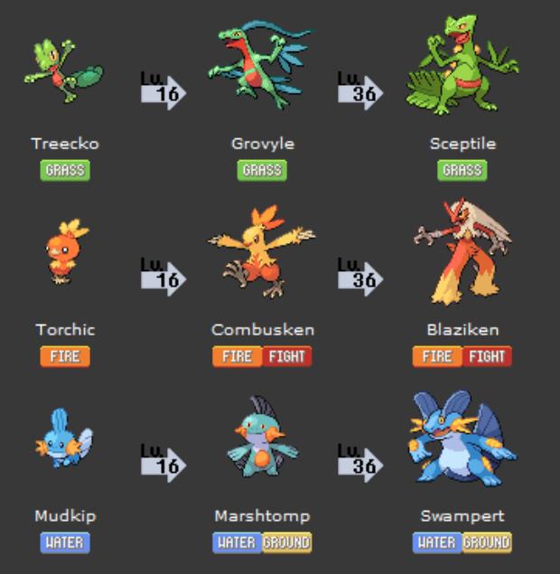 Hoenn Pokemon Starters Treecko, Torchic, Mudkip