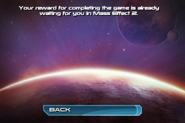 Mass Effect Galaxy Mass Effect 2 completion bonus screenshot message