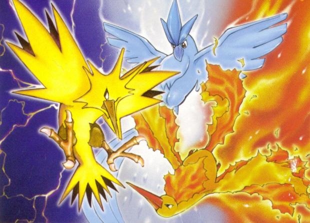 Zapdos Articuno Moltres Legendary bird Pokemon Artwork thanks to Pokemon Paradijs