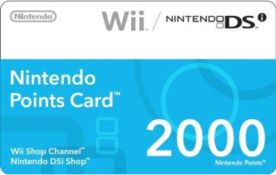 Get an Nintendo Wii and DSi 2000 Points Card