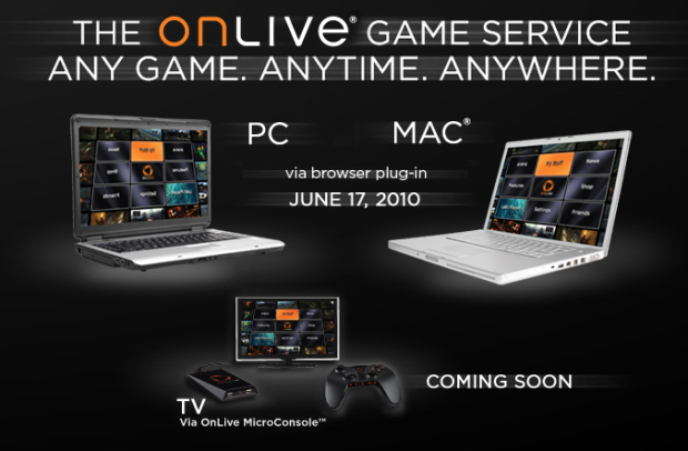 OnLive release date is June 17, 2010 (USA) for streaming service. Micro Console coming later