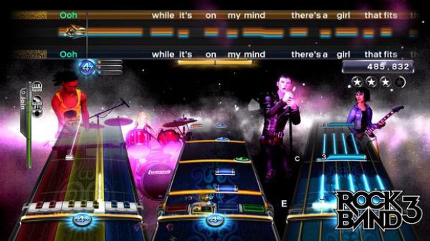 Rock Band 3 gameplay screenshot. Pro Mode keyboard, drums, guitar, vocals