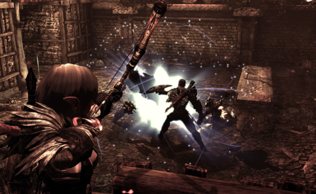 Hunted: The Demon's Forge screenshot with characters Caddoc and E'lara