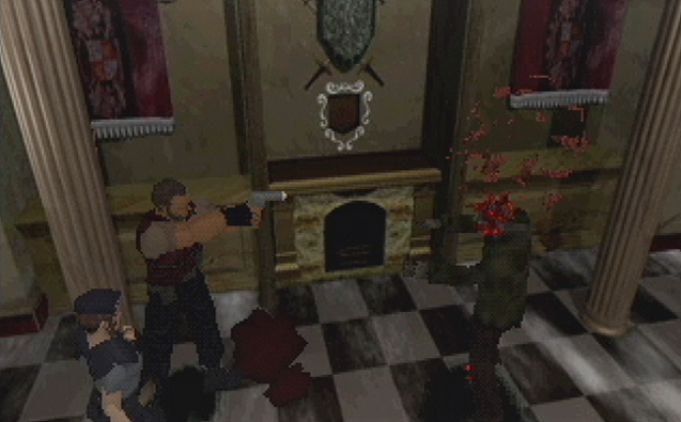 Not Chris' blood! Resident Evil 96 screenshot for PS1. GO BARRY GO! SHOOT THAT ZOMBIE!